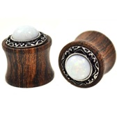 "Opalescent White Stone Wood Tribal Plugs (2g-5/8"")"