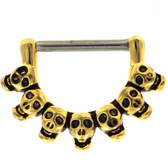 Skull Collection Gold-Tone Nipple Clicker 14g 1/2""