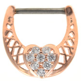 CZ Dazzled Heart Rose Gold Nipple Clicker 14g 1/2""