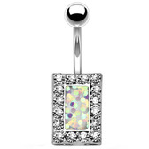 Crystal Framed White Square Center Belly Ring