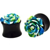 "Green/Blue Rose Flower Acrylic Saddle Plugs (2g-5/8"")"