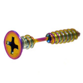 Rainbow Plated Screw Nail Cartilage Earring 16g 1/4""