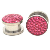 "Encased Pink Rhinestone Screw Ear Plugs (2g-5/8"")"