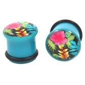 "Blue Hawaiian Luau Single Flared Ear Plugs (2g-1"")"