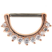 11 Gem Rose Gold Nipple Clicker 14g 1/2""