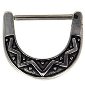 PAIR - Tribal Design Steel Nipple Clicker (16g/14g)