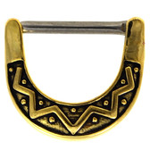 PAIR - Tribal Design Gold-Tone Nipple Clicker (16g/14g)
