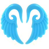 "Light Blue Angel Wing Acrylic Tapers (8g-1/2"")"