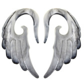 """Black/White Marble Angel Wing Acrylic Tapers (8g-1/2"""")"""