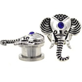 "Elegant Elephant Screw-Fit Steel Plugs (8g-5/8"")"