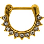Gold IP 100% Steel Crystal Accented Septum Clicker