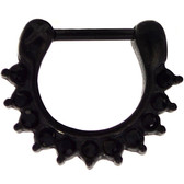 All Black IP Steel Crystal Accented Septum Clicker