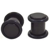 Acrylic Black Solid Ear Plugs w/O-rings (8g-00g)