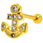 Gem Paved Anchor Gold-Tone Cartilage Earring