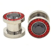 "Black and Red Super Bling Steel Screw Plugs (8g-1/2"")"