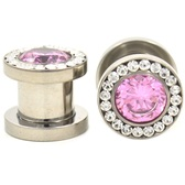 "Pink and Clear Super Bling Steel Screw Plugs (8g-1/2"")"