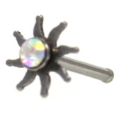 Sparkling Tribal Sun Steel Nose Ring Stud 20G