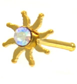 Sparkling Tribal Sun Gold-Tone Nose Ring Stud 20G