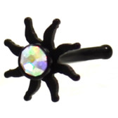 Sparkling Tribal Sun Black Steel Nose Ring Stud 20G