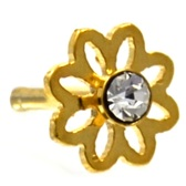Clear Accent Daisy Flower Gold-Tone Nose Ring Stud