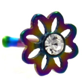 Clear Accent Daisy Flower Rainbow Nose Ring Stud 20G