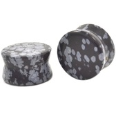 "Obsidian Spotted Stone Double Flared Plugs (8g-1"")"