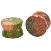 "Colorful Unakite Stone Double Flared Plugs (8g-1"")"