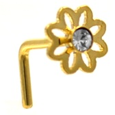 Clear Accent Daisy L Shaped Gold-Tone Nose Ring 20G