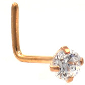 3mm Prong Gem Rose Gold Tone L-Shaped Nose Ring
