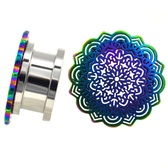 "Oversized Rainbow Tribal Mandala Plugs (4g-5/8"")"