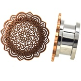 "Rose Gold-Tone IP Tribal Mandala Plugs (4g-5/8"")"