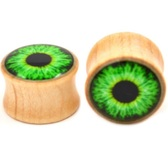 "Green Exploding Eyeball Blonde Wood Plugs (0g-1"")"