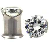 "Prong Set CZ Double Flared Tunnels Plugs (10g-1/2"")"