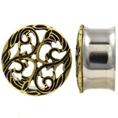 "Filigree Vines Top Double Flared Tunnels (2g-1"")"