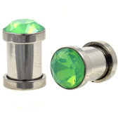 Green Opalite Faceted Gem Top Steel Plugs (8g-00g)