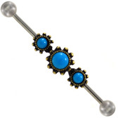 Turquoise Trifecta Gold Tone Industrial Bar 14G