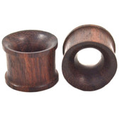 "Brown Rosewood Double Flared Tunnels (2g-1"")"