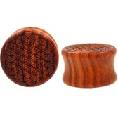 "Blood Wood Carved Flower Of Life Plugs (00g-1"")"