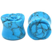 Turquoise Stone Carved Rose Ear Plugs (2g-13/16)
