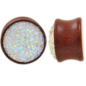 "Raw White Glitter Cluster Wood Plugs (00g-13/16"")"