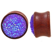 "Raw Purple Glitter Cluster Wood Plugs (00g-13/16"")"