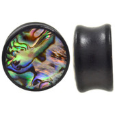 "Abalone Shell Inlay Top Black Wood Plugs (0g-1"")"
