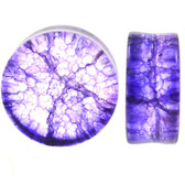 "Purple Shattered Glass Style Plugs (0g-1"")"