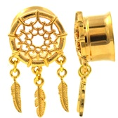 "Web & Triple Feather Dangle Gold-Tone Tunnels (00g-1"")"