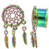 "Web & Triple Feather Dangle Rainbow Tunnels (00g-1"")"