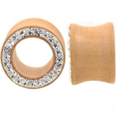 "Paved Crystal Rim Lt Brown Wood Tunnels (0g-5/8"")"