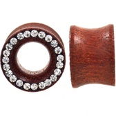 "Paved Crystal Rim Organic Rosewood Tunnels (0g-5/8"")"