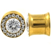 CZ Center & Rim Internally Threaded Gold-Tone Plugs