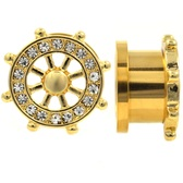 "Nautical Ship Wheel w/Gems Gold-Tone Tunnels (2g-5/8"")"