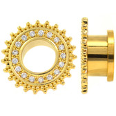 "Gemmed Tribal Shield Gold-Tone Tunnels (2g-5/8"")"